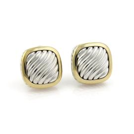 David Yurman Albion Sterling Silver and 18K Yellow Gold Cable Post Clip Earrings