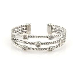 David Yurman Sterling Silver Diamond Geometric Cable Wire Cuff Bracelet