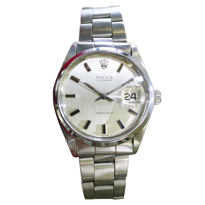 "Image of ""Rolex Oyster Date Precision 6694 Stainless Steel Vintage 34mm Mens"""