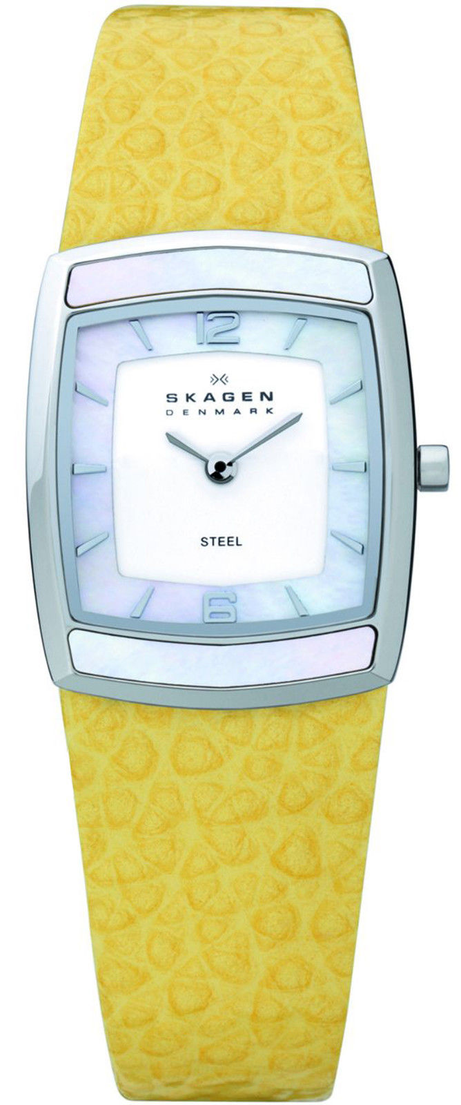 """Image of """"Skagen Denmark 855Ssly Stainless Steel White Dial Yellow 24mm Watch"""""""