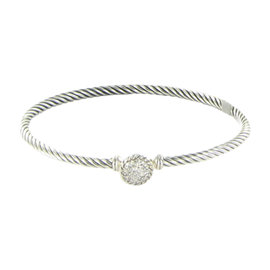 David Yurman Chatelaine 925 Sterling Silver 0.16cts Diamond Bangle Bracelet
