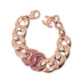 Chanel Rose Gold Tone & Rhinestone Chain Bracelet