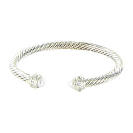 David Yurman Sterling Silver .19ct Diamonds Pearls Cable Classics Bracelet
