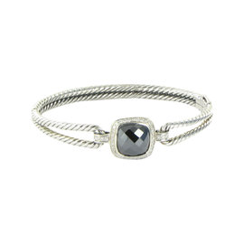 David Yurman Albion Cable Double Sterling Silver Hematite and 0.26 Ct Diamond Bracelet