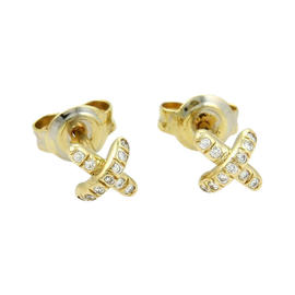 Tiffany & Co. 18K Yellow Gold Diamond Mini Cross Stitch Stud Earrings