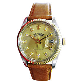 Rolex Oyster Perpetual Datejust Stainless Steel & Yellow Gold with Diamond Automatic Vintage 36mm Mens Watch