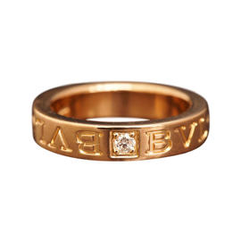 Bulgari 750 Rose Gold 1P Diamond Double Logo Ring Size 3.5