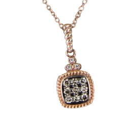 Le Vian Chocolatier 43838-YQEN 29 14K Rose Gold Petite Cushion Paved Chocolate and Vanilla 0.17 Ct Diamond Pendant Necklace
