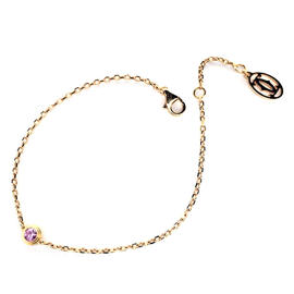 Cartier 750 Rose Gold Pink Sapphire Chain Bracelet Size 7.08