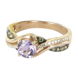 Le Vian 14K Rose Gold 0.62ct. Amethyst & 0.23ct. Diamond Ring Size 7