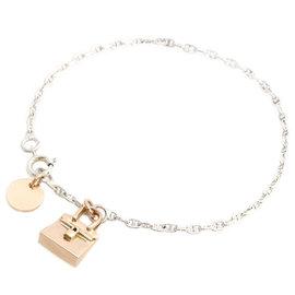 Hermes 925 Sterling Silver and 750 Pink Gold Bracelet