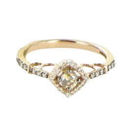 Le Vian Chocolatier Square Halo 14K Rose Gold Chocolate and White Diamond Ring Size 7