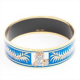 Hermes Gold Tone Metal and Blue Tiger Crown Motif Bangle Bracelet