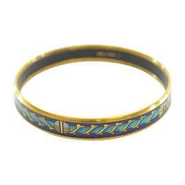 Hermes Gold Tone Metal & Cloisonne Bracelet