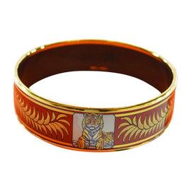 Hermes Gold Tone Metal & Cloisonne Printed Bracelet