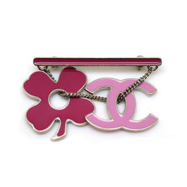 Chanel Silver Tone Metal CC Mark Clover Pink Brooch