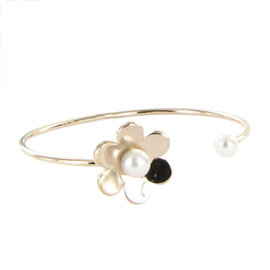 Tous 925 Sterling Silver with Pearl Flower Cuff Bracelet