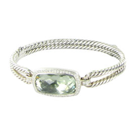 David Yurman Cable Albion Sterling Silver Prasiolite and 0.44 Ct Diamond Bracelet