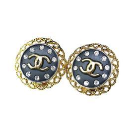 Chanel Yellow Gold Tone Metal Motif Earrings