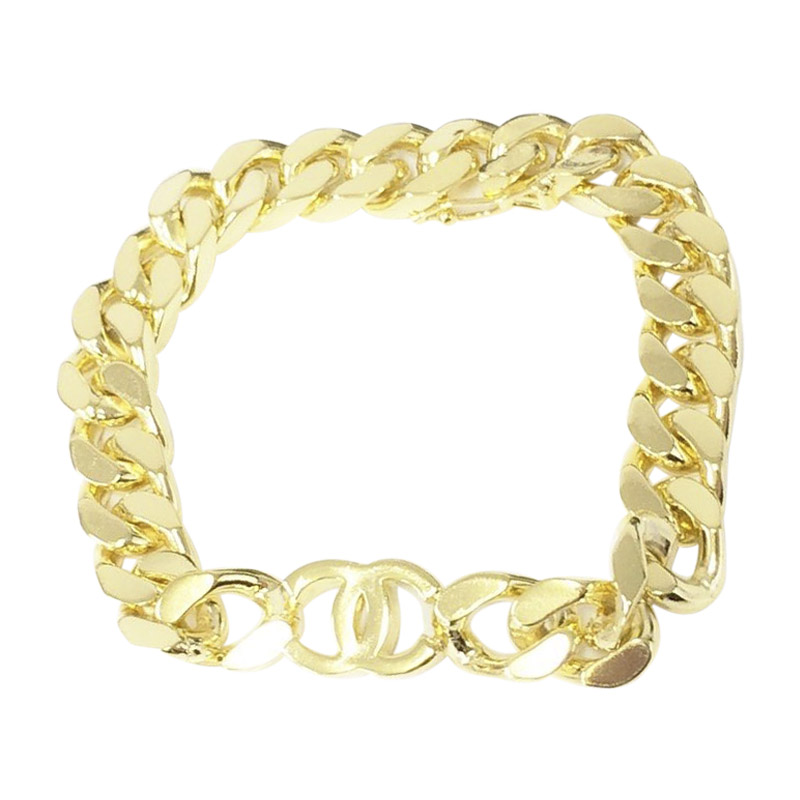 "Image of ""Chanel Gold Tone Metal Coco Chain Bracelet Bangle"""