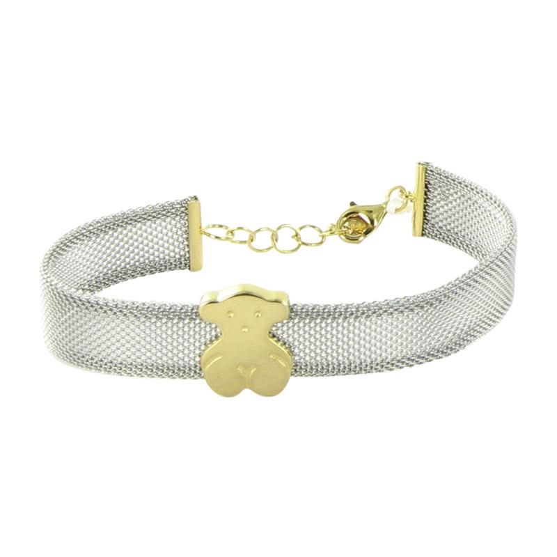 "Image of ""Tous 18K Yellow Gold & Stainless Steel Icon Mesh Bear Bracelet"""
