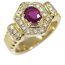 Lanvin 18k Yellow Gold Ruby Diamond Ring Size 5.75