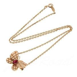 Van Cleef & Arpels 750 Rose Gold Ruby Papillon Pendant Necklace
