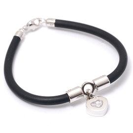 Chopard 750 White Gold Happy Diamond Heart Motif Rubber Bracelet