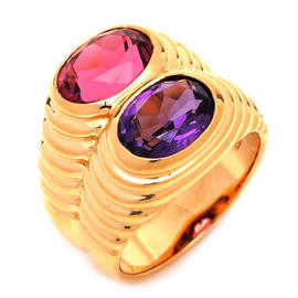 Bulgari 18k Yellow Gold Amethyst Tourmaline Ring Size 5.5