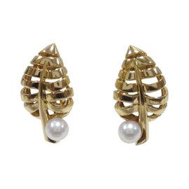 Mikimoto 18K Yellow Gold & Akoya Pearl Leaf Earrings