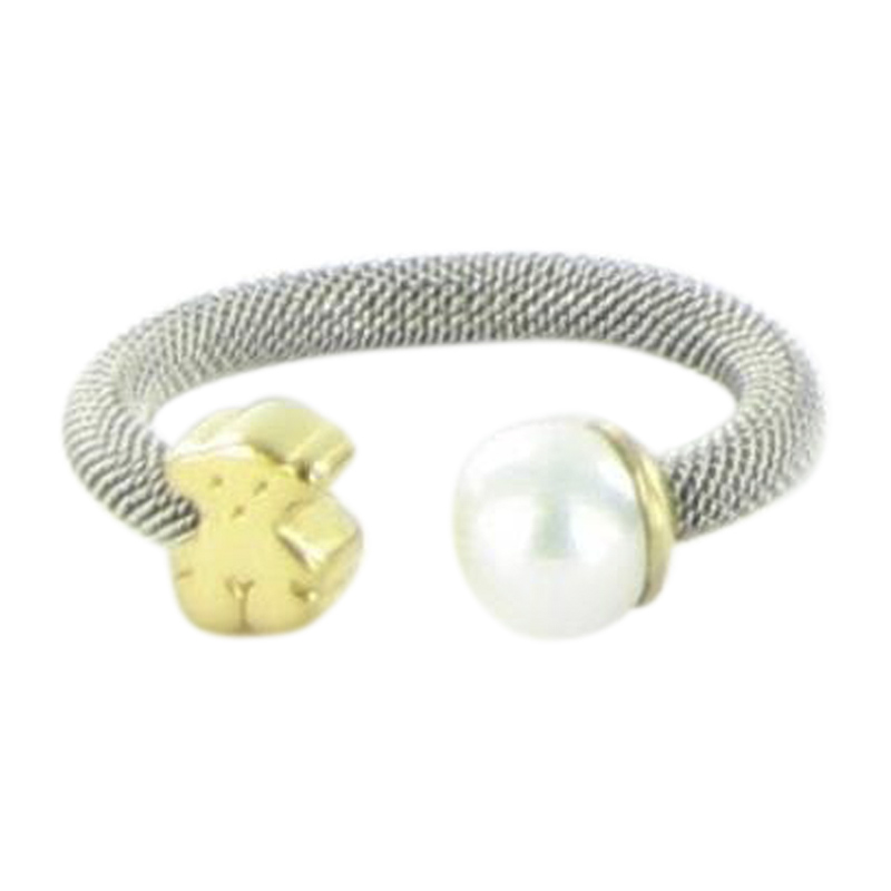 "Image of ""Tous Icon 18K Yellow Gold Stainless Steel Mesh Ring Pearl Bear Size"""