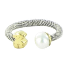 Tous Icon 18K Yellow Gold Stainless Steel Mesh Ring Pearl Bear Size 6.5