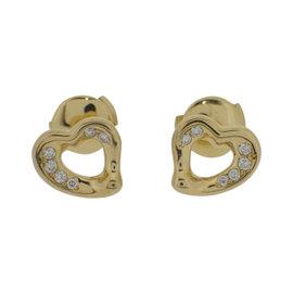 Tiffany & Co. Elsa Peretti 18K Yellow Gold & Diamond Open Heart Earrings