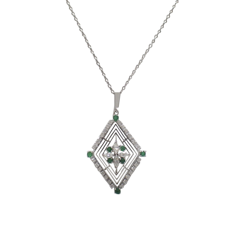 "Image of ""Mikimoto 14K White Gold Emerald Diamond Necklace"""