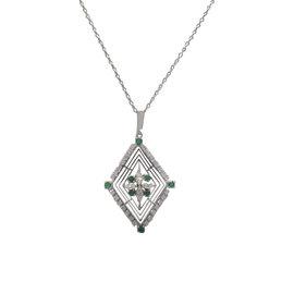 Mikimoto 14K White Gold Emerald Diamond Necklace