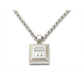 Chopard 750 White Gold Happy Diamond Icon Square Necklace
