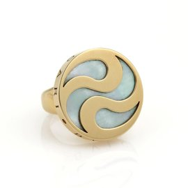 Bulgari Bvlgari 18K Yellow Gold & Stainless Steel with Mother of Pearl Ring Size 4.75