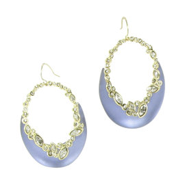 Alexis Bittar Rhodium with Lucite and Swarovski Crystal Earrings