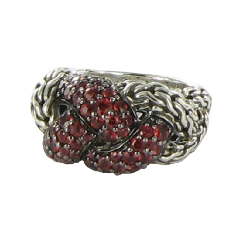 "Image of ""John Hardy 925 Sterling Silver Classic Chain Lava Small Braided Red"""