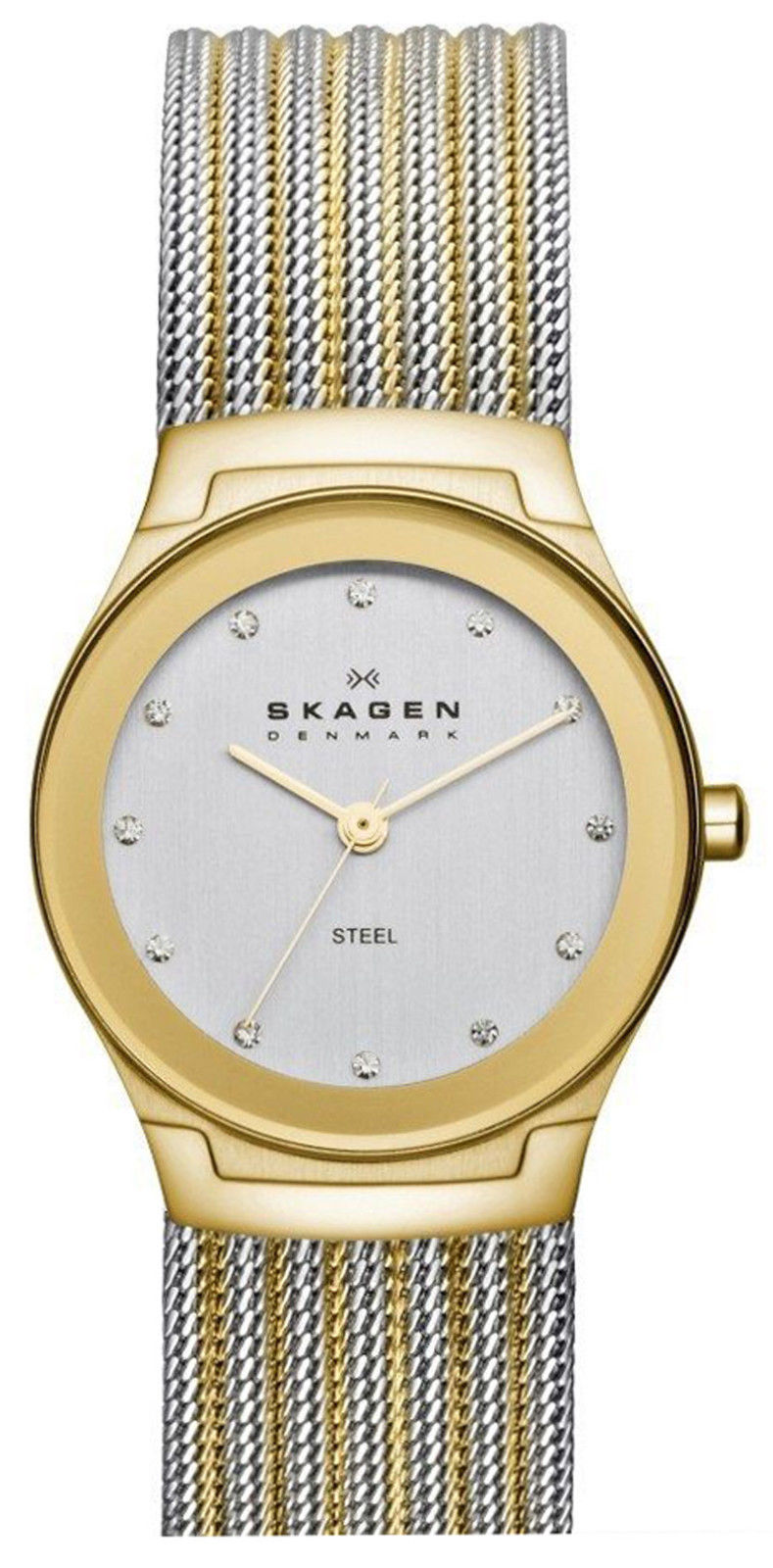"""Image of """"Skagen Skw2082 Two Tone Stainless Steel White Dial 32mm Womens Watch"""""""