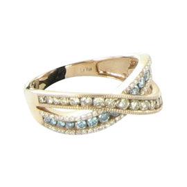 Le Vian 14K Rose Gold Iced Blueberry Topaz & Diamond Bypass Ring Size 7