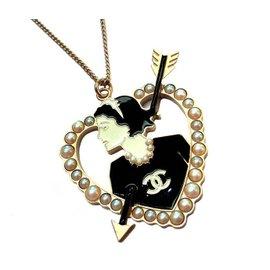 Chanel Gold Tone Metal Mademoiselle Heart Pearl Arrow Pendant Necklace