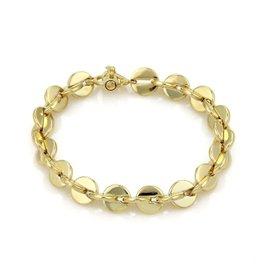 Movado 925 Sterling Silver & 18K Yellow Gold Fancy Round Disc Link Bracelet