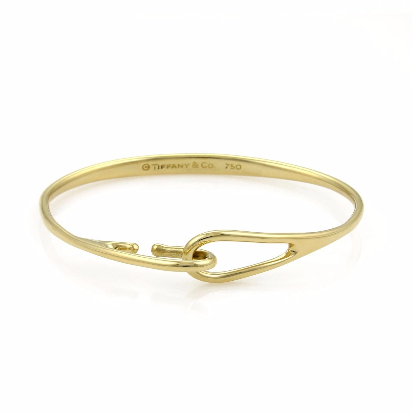 "Image of ""Tiffany & Co. 18K Yellow Gold Hook & Eye Bangle Bracelet"""
