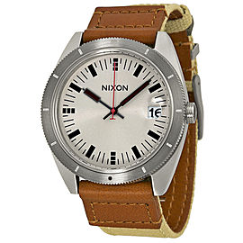 Nixon Rover A355 1430 Silver Dial Brown Leather Strap 41mm Mens Watch
