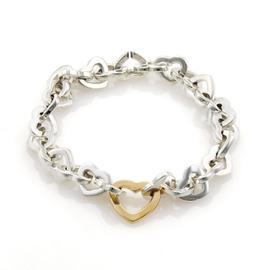 Tiffany & Co. 925 Sterling & 18K Yellow Gold Heart Link Bracelet