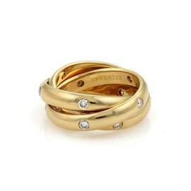 Cartier 18K Yellow Gold Trinity Diamond Rollin Band Ring Size 6.5