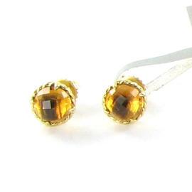 David Yurman 18K Yellow Gold Round Citrine Chatelaine Stud Earrings