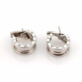 Bulgari Bvlgari B Zero-1 18K White Gold Wide Hoop Earrings