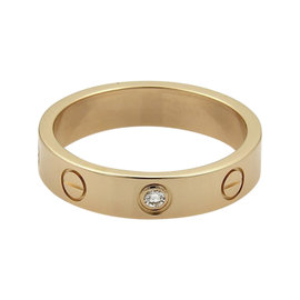 Cartier Mini Love 18K Rose Gold Diamond Band Ring Size 5.75